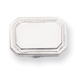 Rhodium-plated Polished Rectangle Tie Tack - JewelryWeb