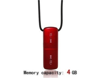 3.5Mm 4G Statistics Tangible Necklace Mp3 Player (Red)