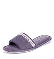 M&S Collection Open Toe Lace Trim Slippers