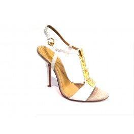 GREY MER art.726 sandalo in pelle bianca con accessorio dorato - White, EUR 40