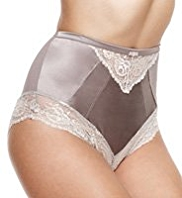 Rosie for Autograph Silk High Waisted Knickers with French Designed Rose Lace