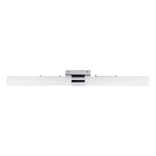 Perpetua 42-inch LED Vanity Fixture Polished Chrome 53.5W Dimmable Warm Soft Light Frosted Glass 4600 Lumens 3000K Modern Bathroom Bar Mirror Lighting – Linea di Liara LL-SC944-PC