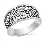 Victorian Style Leaf Filigree Vintage Ring Sterling Silver 925 (Sizes 3-15)