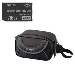 Carte mémoire Memory Stick PRO Duo 16 Go Mark2 + adaptateur + housse caméscope