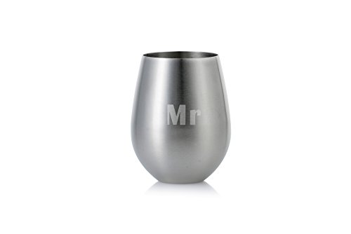 Mr/Mrs, Mr/Mr, or Mrs/Mrs: Set of 2 Stemless Stainless Steel Engraved Unbreakable and Shatterproof 18 oz Wine Glasses (Mr and Mr)