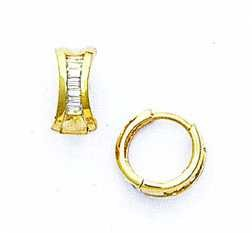 14ct Yellow Gold Baguette-cut CZ Petite Hinged Earrings