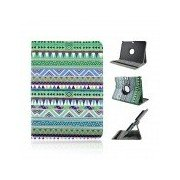 Protective 360 Degree Rotation PU Leather Case for Samsung P5200 - Green + White + Multicolor Green + White + MultiColored