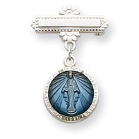 Sterling Silver Blue Enameled Miraculous Medal Pin - JewelryWeb
