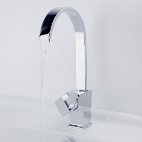 Contemporary Brass Bathroom Sink Faucet (Chrome Finish)