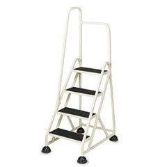 ** Four-Step Stop-Step Folding Aluminum Handrail Ladder, Beige **