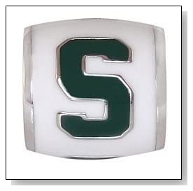 MICHIGAN STATE Logo White 925 Silver European College Charm Bead