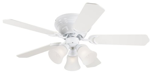 Westinghouse  7850800 Contempra Trio Three-Light 42-Inch Reversible Five-Blade Indoor Ceiling Fan, White with Frosted Glass Shades
