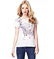Indigo Collection Pure Cotton Bird-of-paradise Print T-Shirt