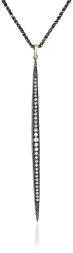 Mizuki 14Kt Shadow Silver Chain Charm Icicle Diamond Long Pendant Necklace (.54Ct), 25''