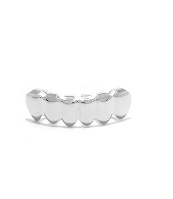 Silver Tone Removeable Mouth Grillz Bottom Row (Platinum Mouth Grillz compare prices)