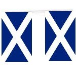 "Scottish Scotland St. Andrews Flag Bunting Approx 36' Feet Long Containing around 14 flags each 9"" x 6"""
