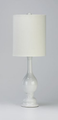 Cyan Designs 02089 Table Lamp With White Silk Shades, White Finish