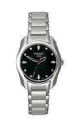 Tissot T-Wave redondo de color negro de las mujeres reloj de pulsera de cuarzo de los diamantes de tendencia #T023 210,11,056,00.