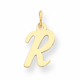 14k Small Script Initial R Charm