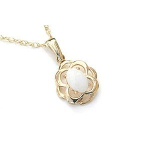 9ct Gold Celtic style Opal Pendant with 18 inch chain