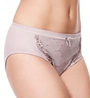 Per Una Orchid Embroidered High Leg Knickers