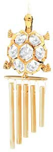 24K Gold Plated Wind Chime Sun Catcher or Ornament..... Turtle With Clear Swarovski Austrian Crystal - 1