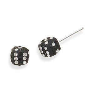 Rolling Dice Stud Post Earrings 6.5mm Black with Clear Crystal Sterling Silver