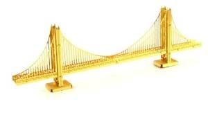Fascinations Metal Earth 3D Laser Cut Model - San Francisco Golden Gate Bridge in Gold - Rare Earth Edition - 1