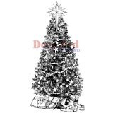 Deep Red Stamps Decorated Christmas Tree Rubber Stamp - 1