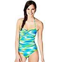 Halterneck Sunset Print Ruched Swimsuit