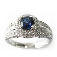 Sapphire & Diamond Cluster Engagement Ring Vintage Style 14k White gold