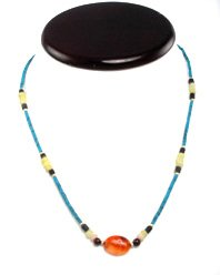 Afghani Necklace Turquoise with Carnelian