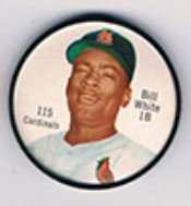 1962 Salada Tea Coins (Baseball) Card# 115 Bill White Of The St. Louis Cardinals Ex Condition