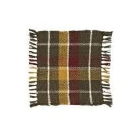 Country Style Hunter Green, Gold, Burgundy Lodge Rib Weave Coaster Set of 4; 4x4