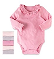 5 Pack Pure Cotton Frill Collared Bodysuits