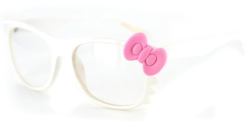 43dc9a2eae Pretty Kitty Clear Wayfarer Glasses with Cute Cat Design and Bow for Stylish