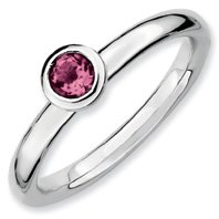 0.27ct Silver Stackable 4mm Round Pink Tourm. Band. Sizes 5-10 Available