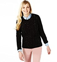 Angel Cable Knit Flecked Jumper with Wool
