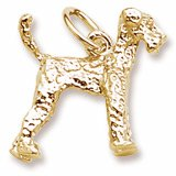 Airedale Dog Charm in Yellow Gold