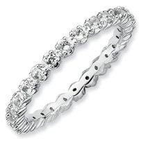 0.56ct Pure Love Silver Stackable White Topaz Band. Sizes 5-10 Available