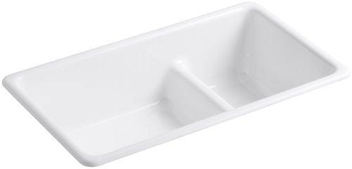 KOHLER K-6625-0 Iron/Tones Smart Divide Self-Rimming or Undercounter Kitchen Sink, White (Kohler Iron Tones compare prices)