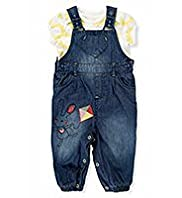 2 Piece Pure Cotton Floral T-Shirt & Denim Dungaree Outfit