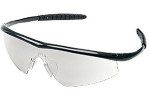 Safety Glasses, Tremor, Onyx Frame, Curved I/O Clear Mirror Coated Lens
