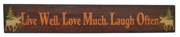 Wood Sign Plaque: Live Well. Love Much. Laugh Often, 18-inch, Wall Mounted (Moose Kitchen Decor compare prices)