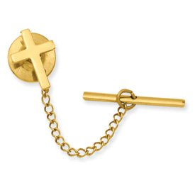 Gold-plated Small Plain Cross Tie Tack - JewelryWeb
