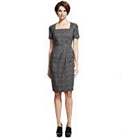 M&S Collection Square Neck Checked Dress