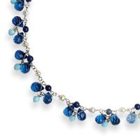Sterling Silver Blue Crystal/Lapis/Amazonite/Cultured Pearl Necklace - QH2342-16