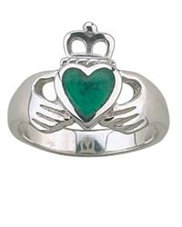 Celtic Green Agate Claddagh Ring (size: 9)