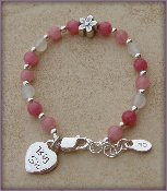 Big Sis - Flower Sterling Silver Childrens Girls Bracelet Childrens Big Sister pink and white jade w/ whimsical daisy flower,