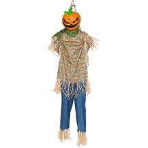 Life size animated hanging kicking scarecrow for Animated scarecrow decoration